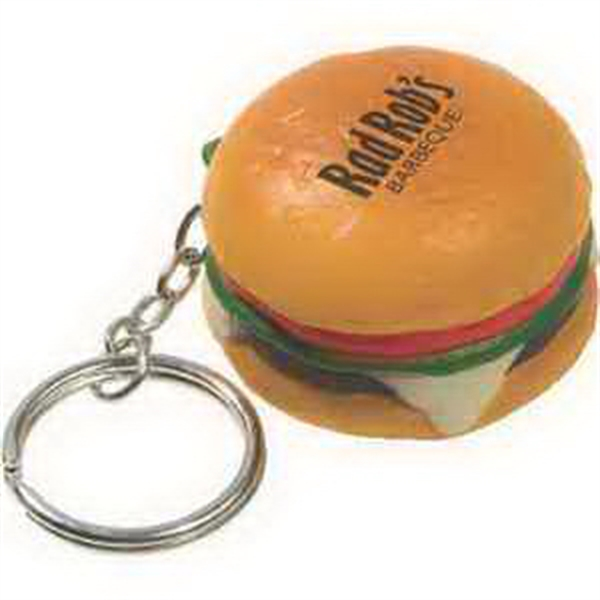 Printed Hamburger Key Chain Stress Reliever