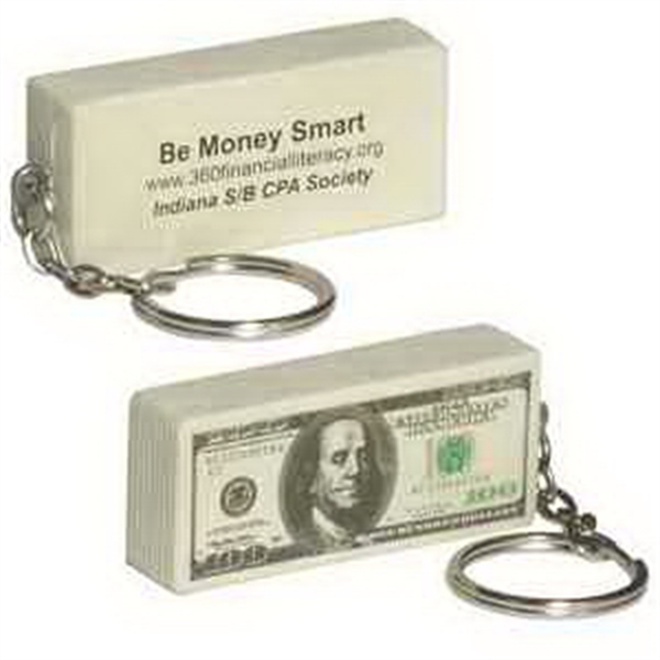 Printed 100 Dollar Bill Key Chain Stress Reliever