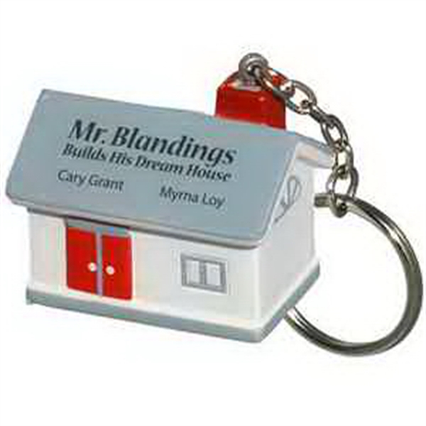 Imprinted House Key Chain Stress Reliever