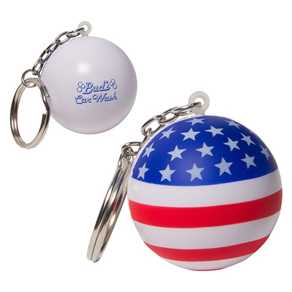 Imprinted Patriotic Stress Ball Key Chain