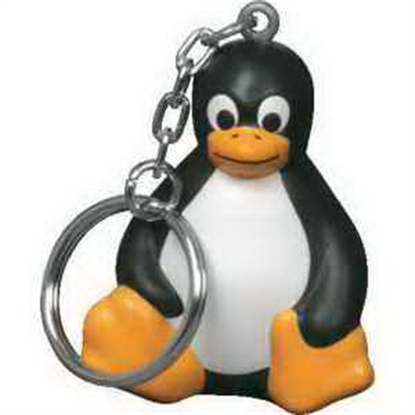 Promotional Sitting Penguin Key Chain Stress Reliever