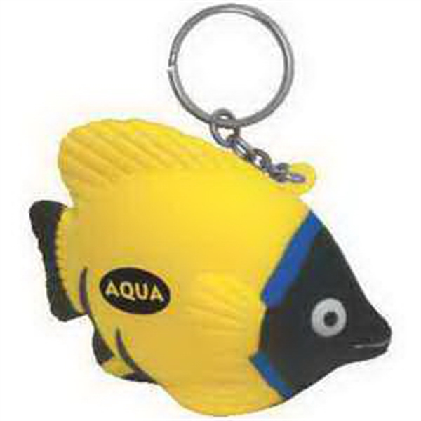Imprinted Tropical Fish Key Chain Stress Reliever