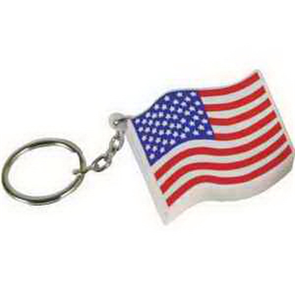 Imprinted US Flag Key Chain Stress Reliever