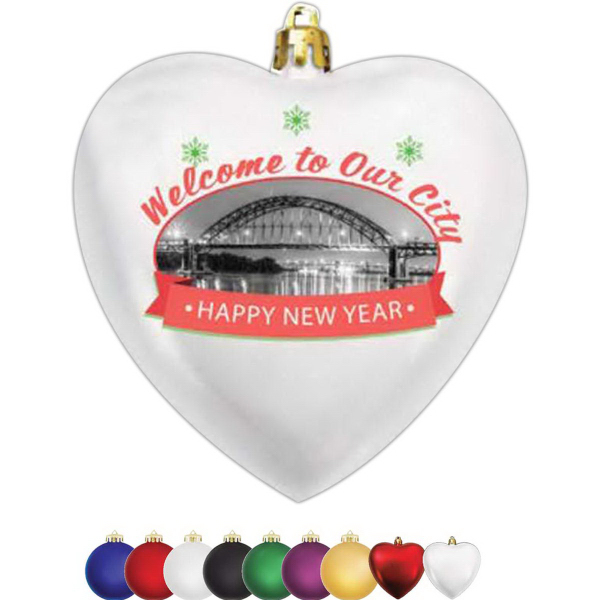 "Personalized 4"" Heart Shaped Shatterproof Ornament"