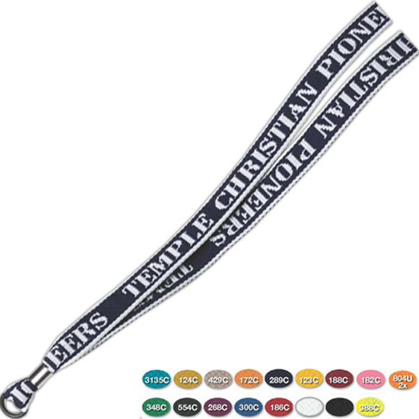 Personalized Rubber O-Ring Knit-In Lanyard