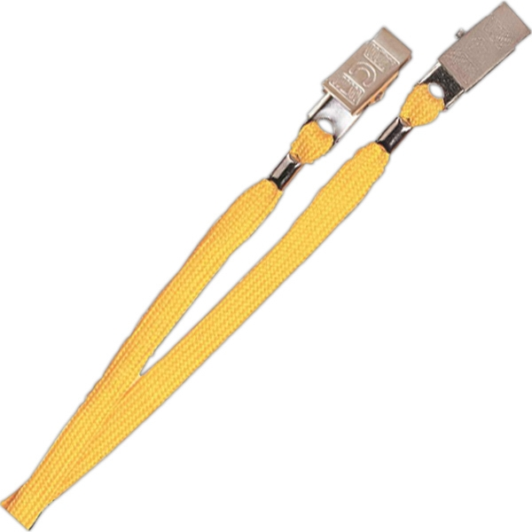 "Promotional 3/8"" Plain Lanyard with 2 bulldog clip"