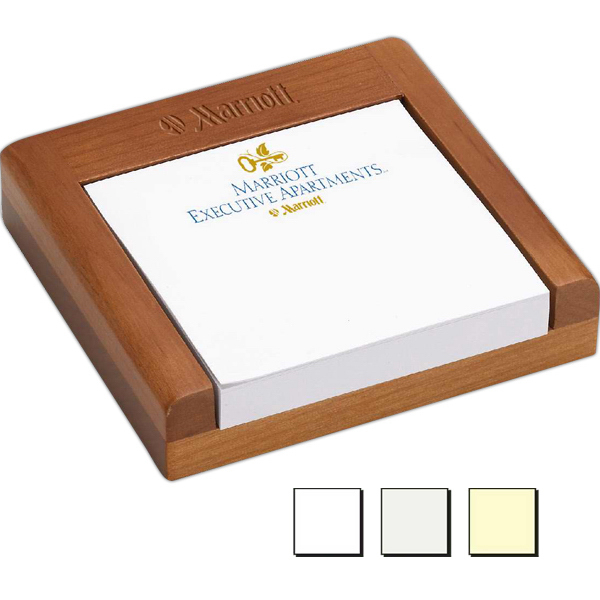 Promotional Club Level Wood Note Holder & Adhesive Notepad