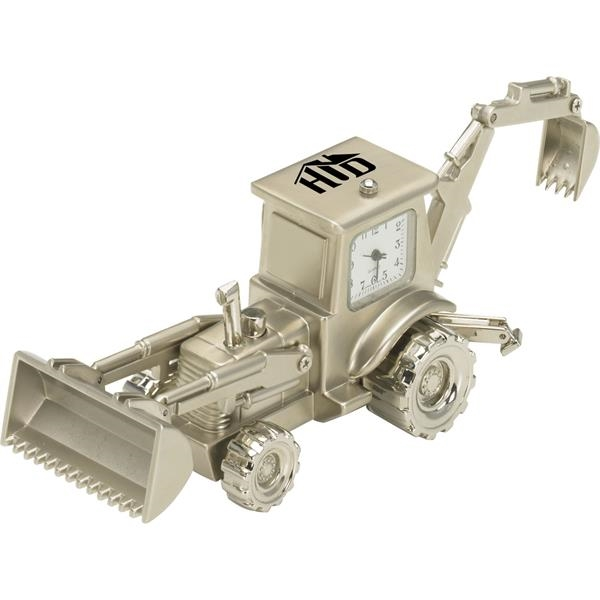 Personalized Silver Metal Backhoe Clock