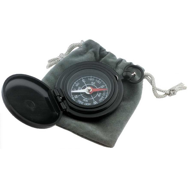 Imprinted Deluxe Black Matte Pocket Compass