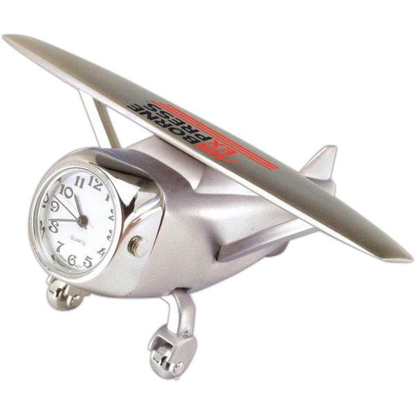 Customized Silver Die Cast Airplane Clock