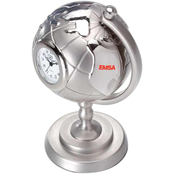 Customized Silver Die Cast Globe and Stand Clock