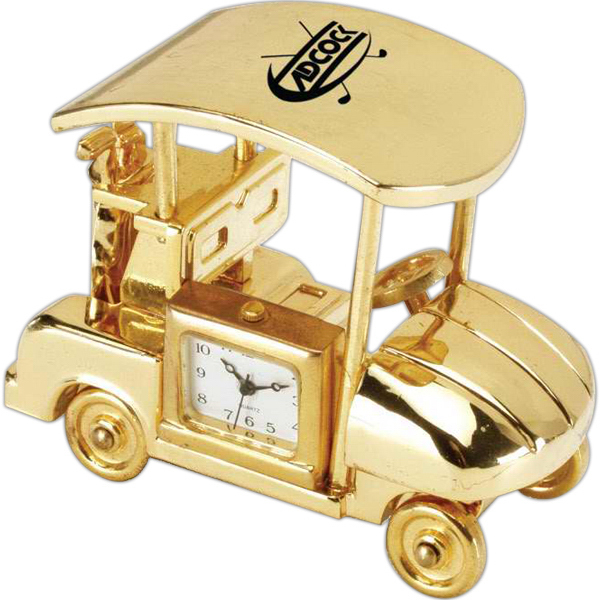 Customized Gold Die Cast Golf Cart Clock
