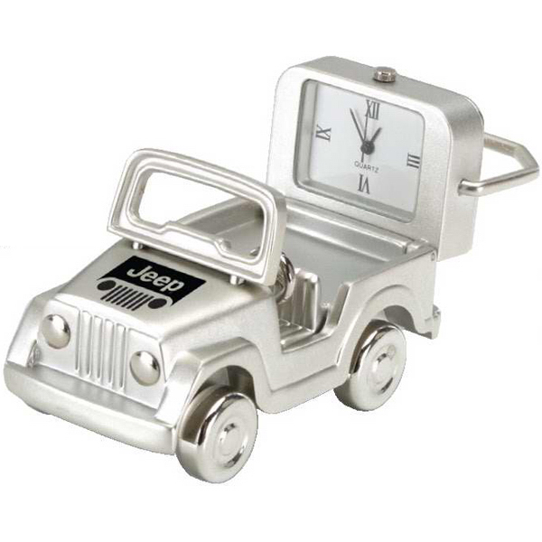 Promotional Silver Die Cast Jeep Clock