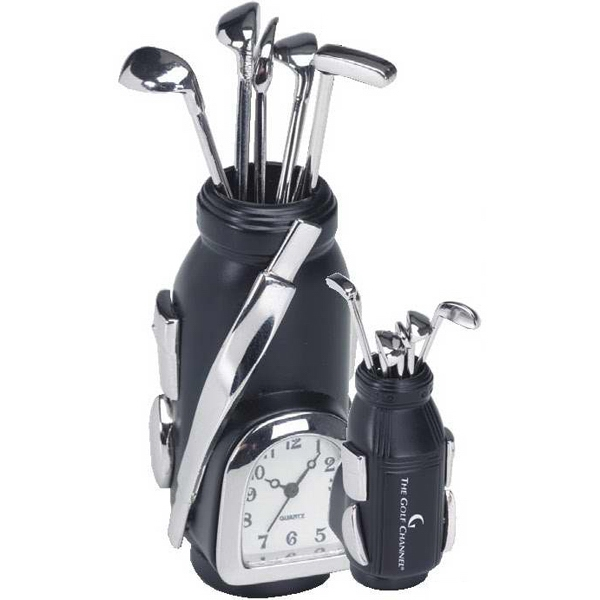 Imprinted Black and Silver Metal Golf Bag Clock