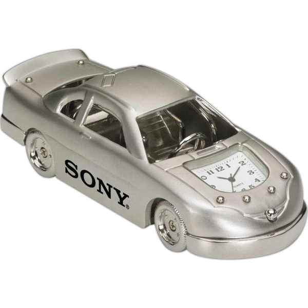 Personalized Silver Die Cast Race Car Clock