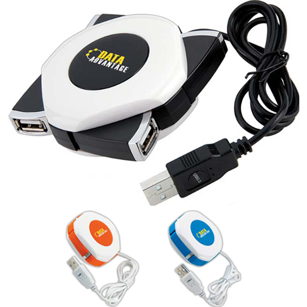 Promotional Orb Twist 4-Port USB 2.0 Hub