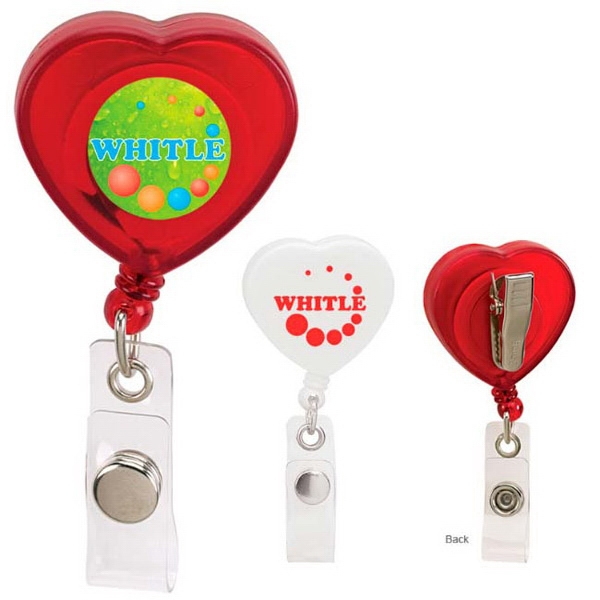 Customized Caring Heart Retractable Badge Holder