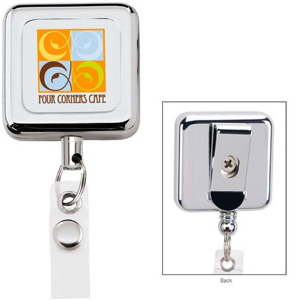 Promotional Square Metal Retractable Badge Holder