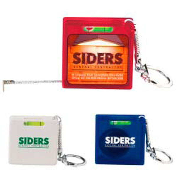 Personalized 3' Square Tape Measure Level Key Holder