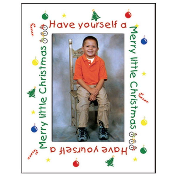 Imprinted Holiday Text Photo Frame