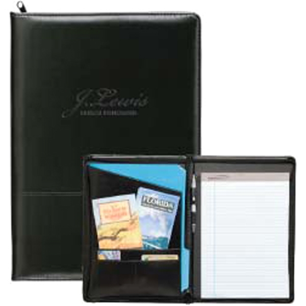 Imprinted Script Zippered Padfolio