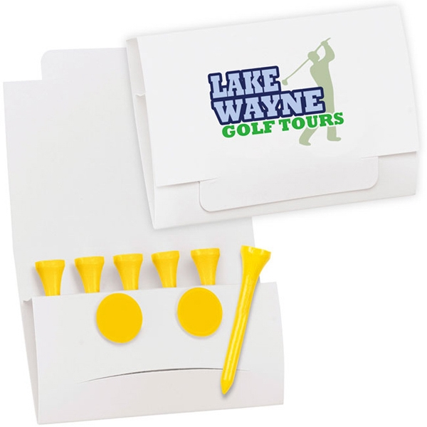 "Printed 6-2 Golf Tee Packet - Value Pak-2-1/8"" Tees"