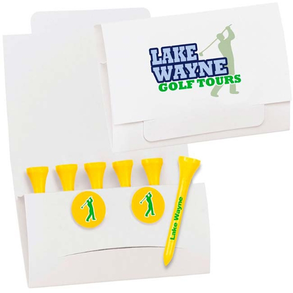 "Customized 6-2 Golf Tee Packet - 2-1/8"" Tee"