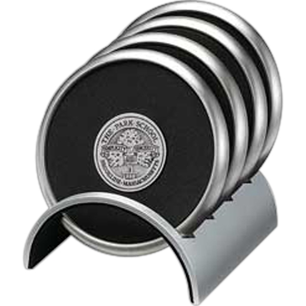 Promotional Round Stainless/Polymeric Rubber Coaster Set