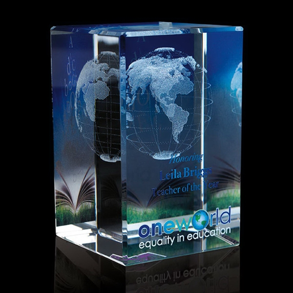 Personalized Tall Cube - World