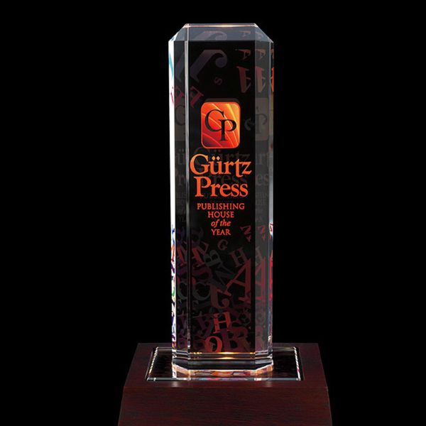 Custom Vertical Highlight Award with Lighted Base