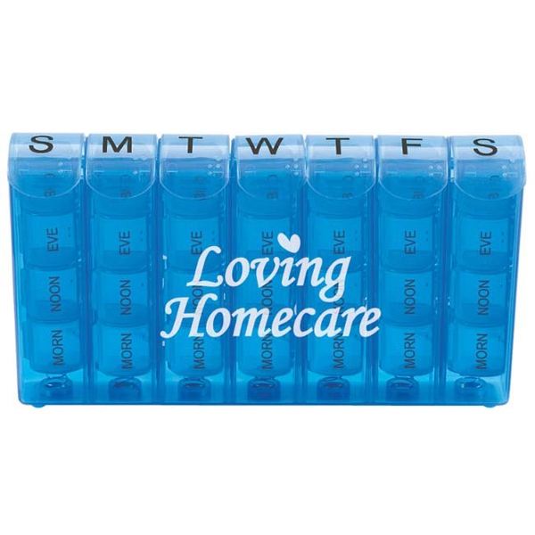 Imprinted Spring Action 28-Compartment Pill Box
