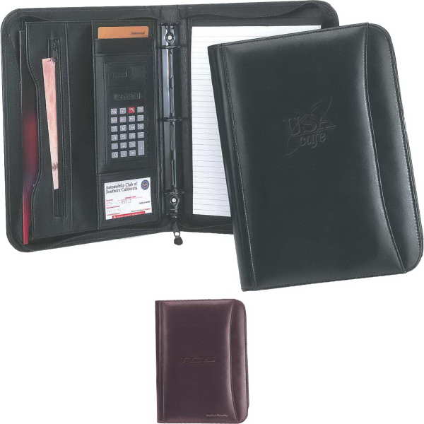 Personalized Ranier Binder Leather 3-Ring Portfolio