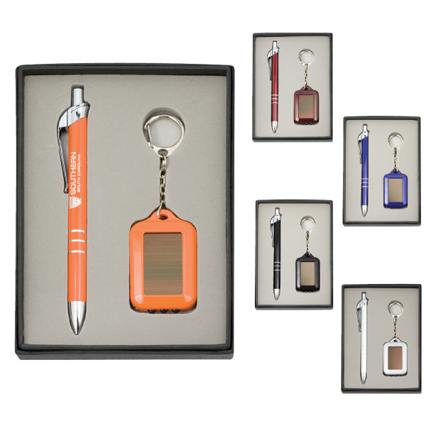 Personalized Pen and Solar Keychain Gift Set