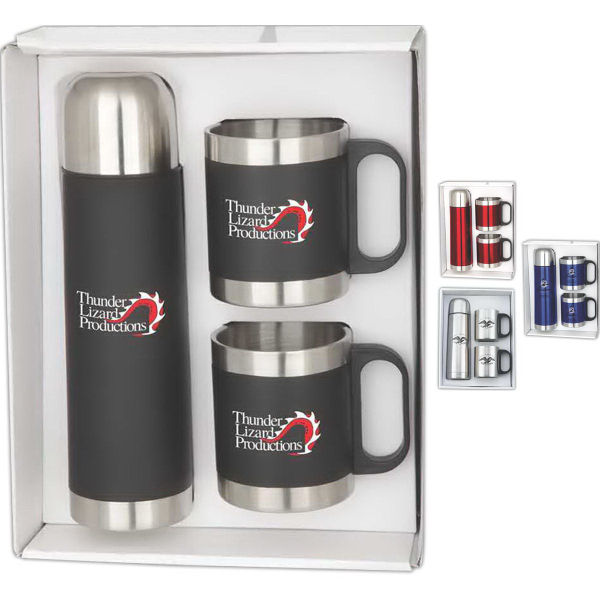 Printed Stainless steel mugs and thermos gift set