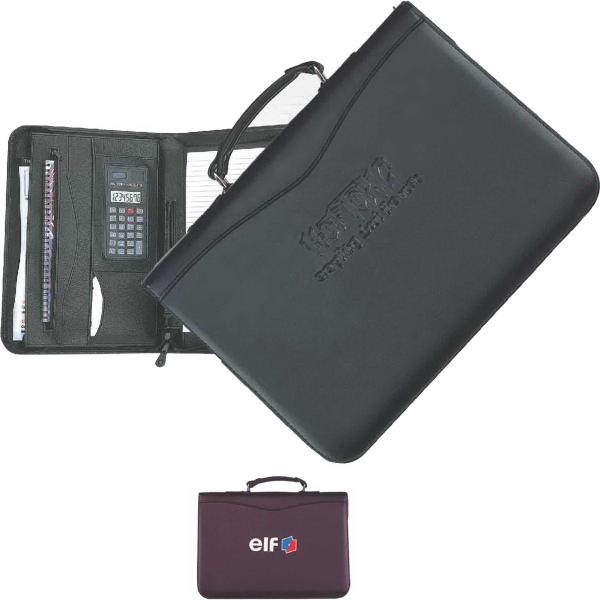 Imprinted Executive Zip & Carry Zipper Portfolio