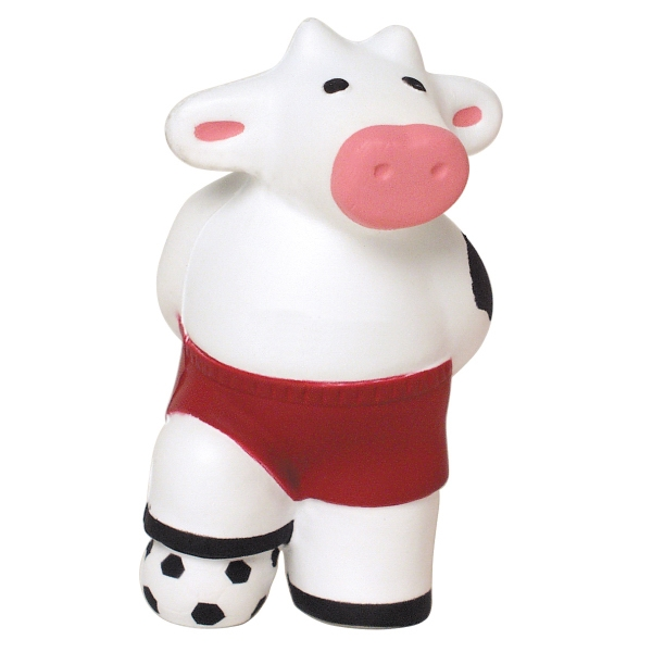 Printed Squeezies (R) Soccer Cow stress reliever