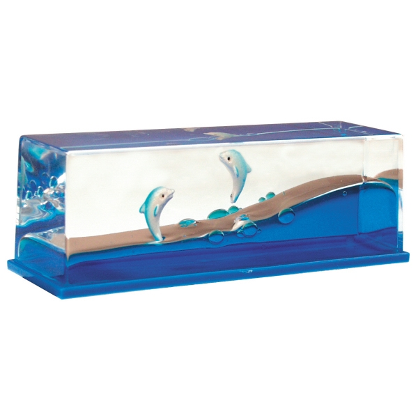 Personalized Liquid Wave Paperweight: Dolphin