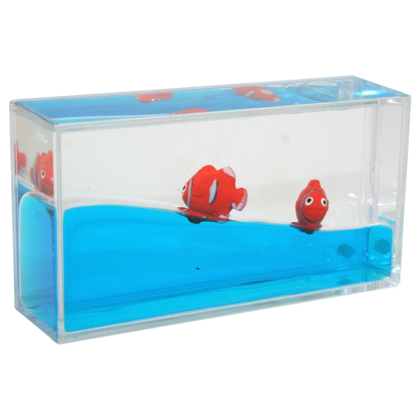 Promotional Liquid Mini Wave Clown Fish Paperweight
