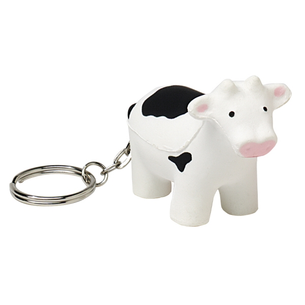 Printed Squeezies (R) cow keyring stress reliever