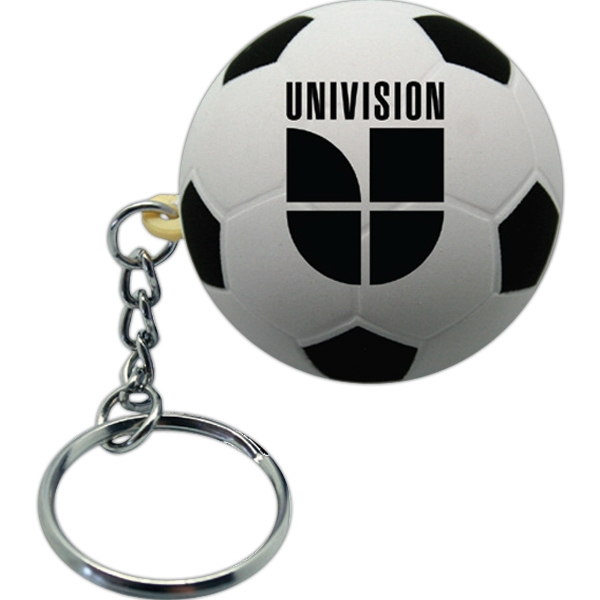 Printed Squeezies (R) Soccer Ball Keyring Stress Reliever