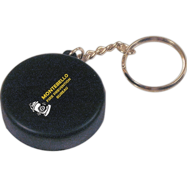 Customized Squeezies (R) hockey puck keyring stress reliever