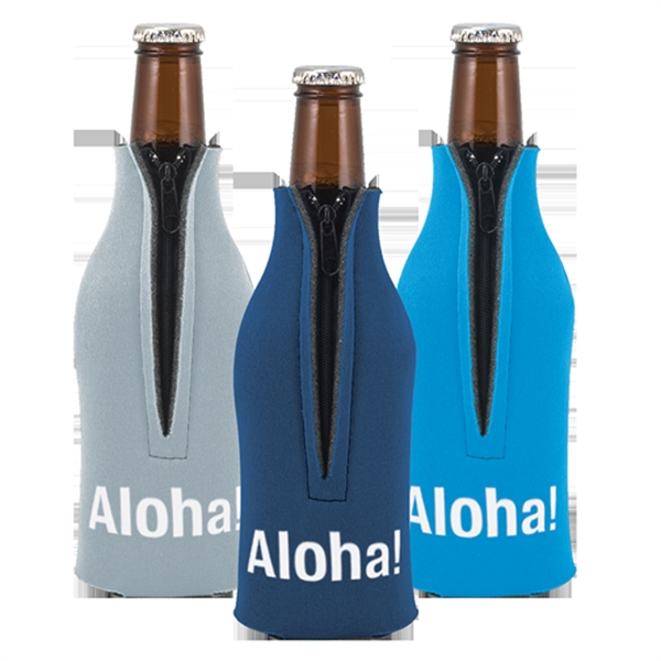 Imprinted Zippered Bottle Coolie (TM)