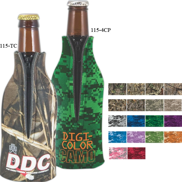Imprinted Camo Zippered Bottle Coolie (TM)