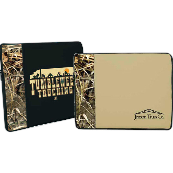 Promotional Zippered Neoprene Laptop Sleeve - Trademark Camo