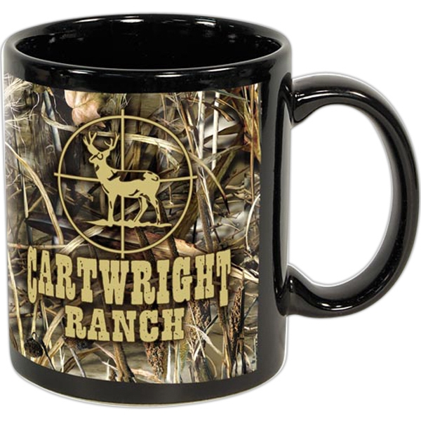 Imprinted Black Sublimation Mug 11 oz.  - Licensed