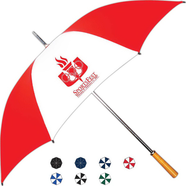 Imprinted Sport Golf Stick Manual Open Umbrella With Steel Frame