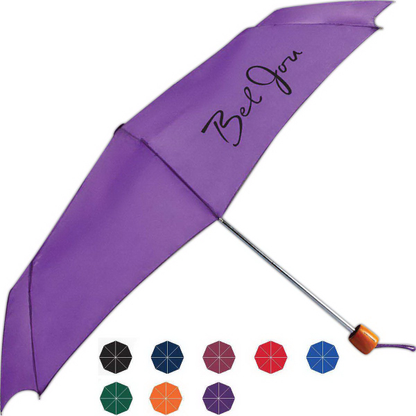 Customized Mini Windy Manual Open Umbrella With Genuine Wood Handle