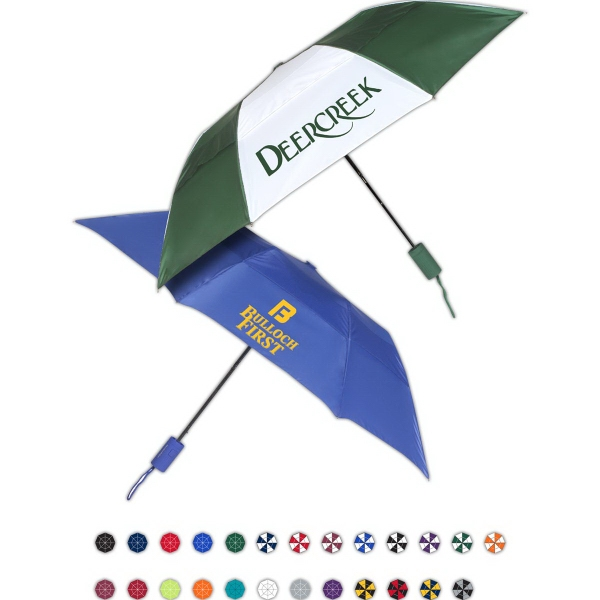 Printed Raindrop Automatic Open Umbrella With Vented Canopy