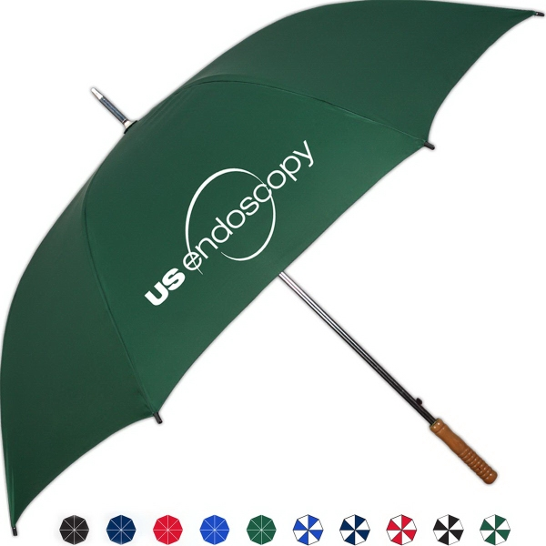 Promotional Storm Automatic Open Umbrella With Genuine Wood Handle