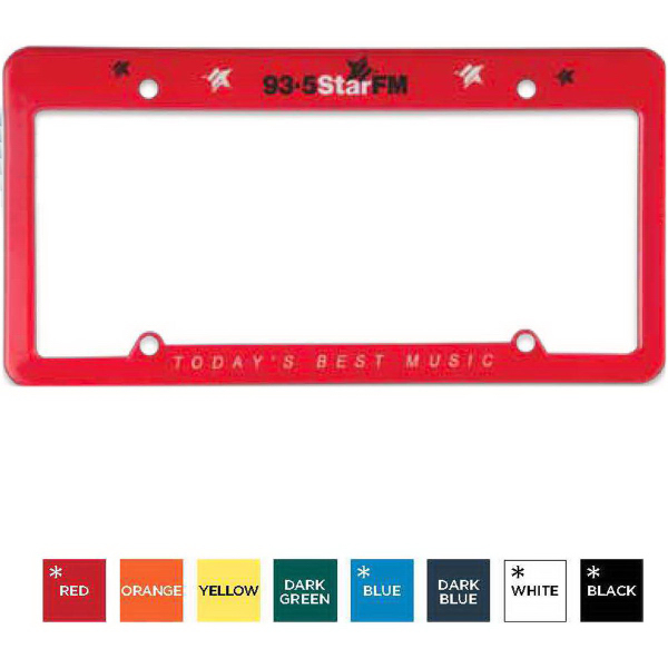 Imprinted License Plate Frame (4 Holes - Straight Top)